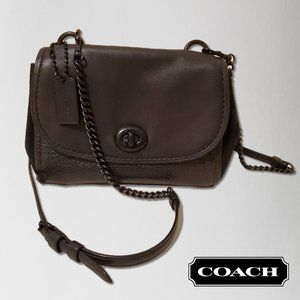 Coach Faye Matte Black Leather Suede Crossbody Bag